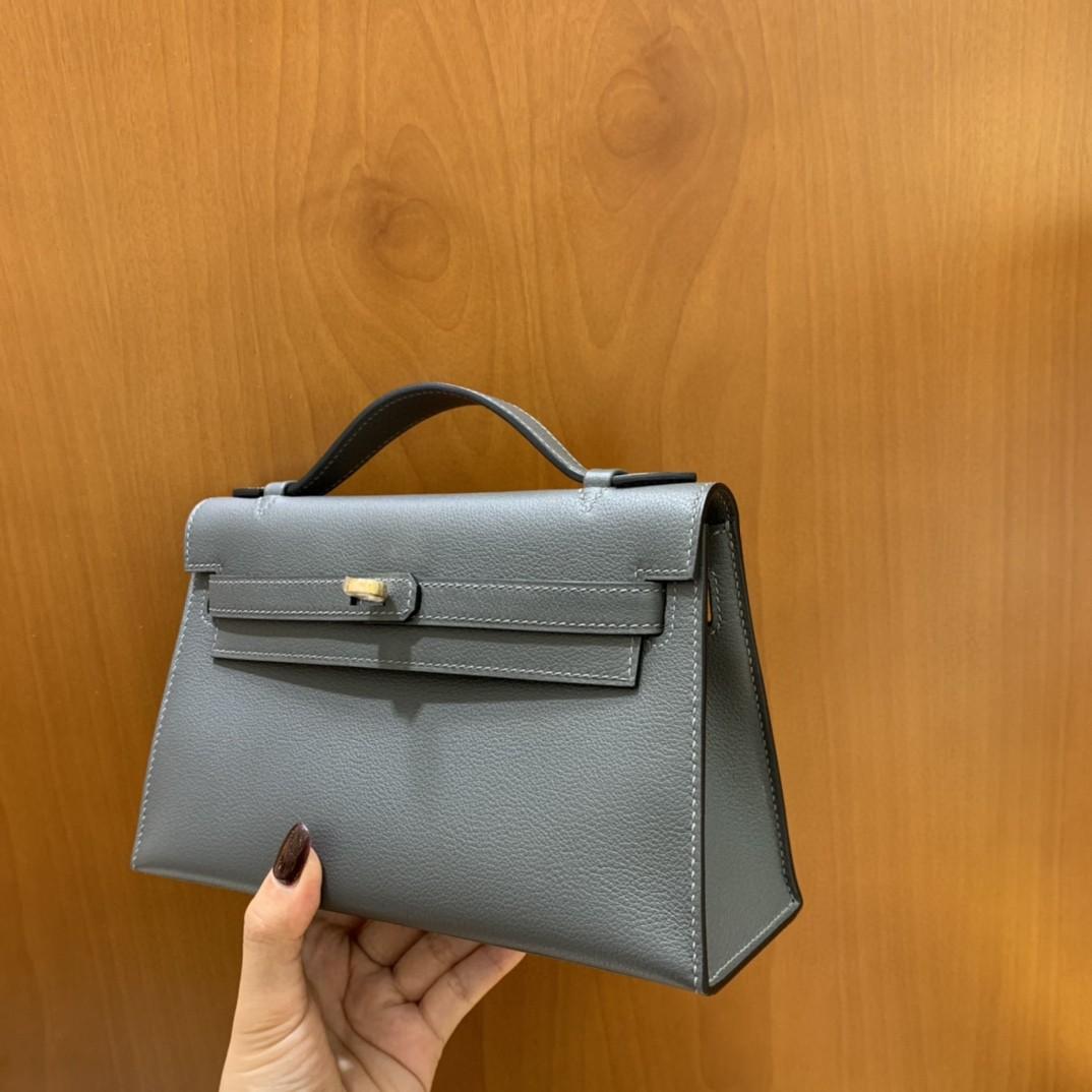 Hermès(爱马仕)ever color 锡器灰 mini Kelly 22 金扣 现货
