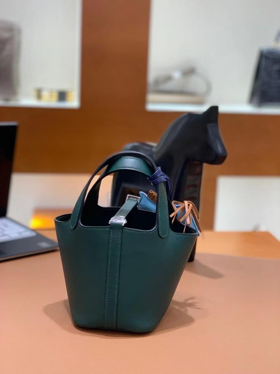 Hermès(爱马仕)Picotin 菜篮子 swift皮 英国绿 14cm 银扣 现货
