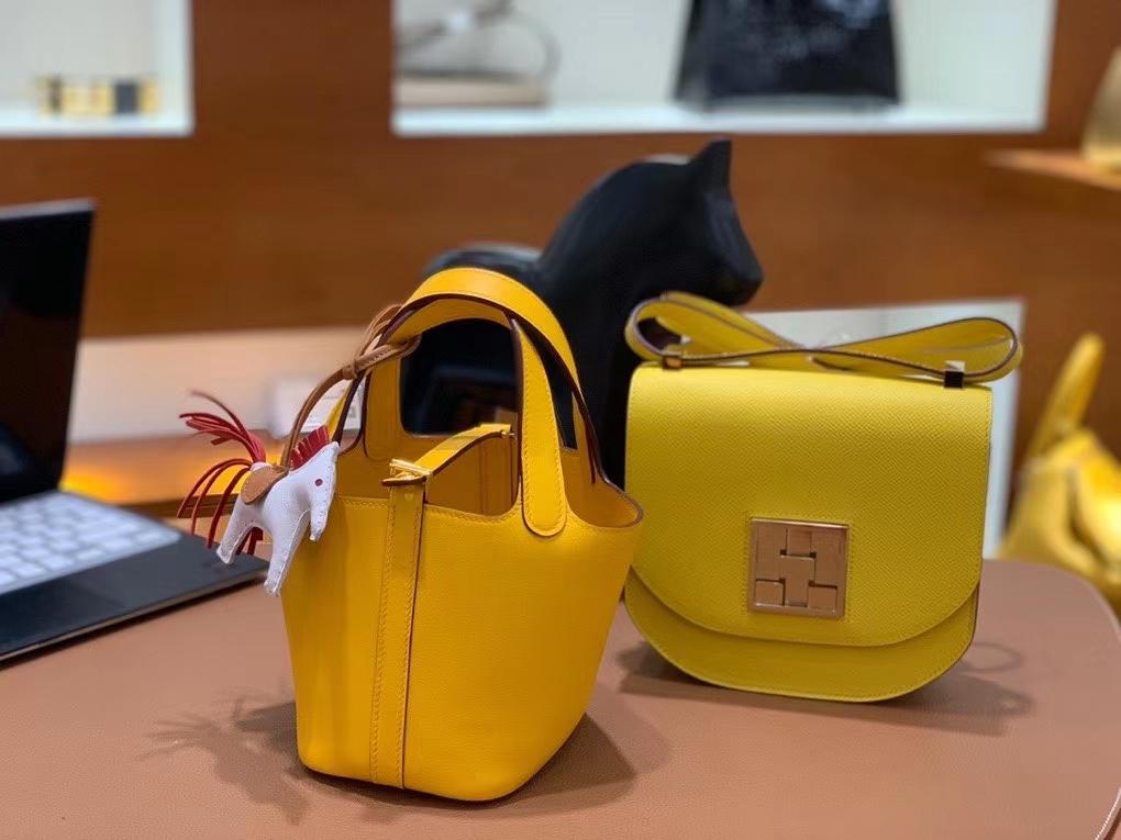 Hermès(爱马仕)Picotin 菜篮子 swift皮 9D琥珀黄 14cm 金扣 现货