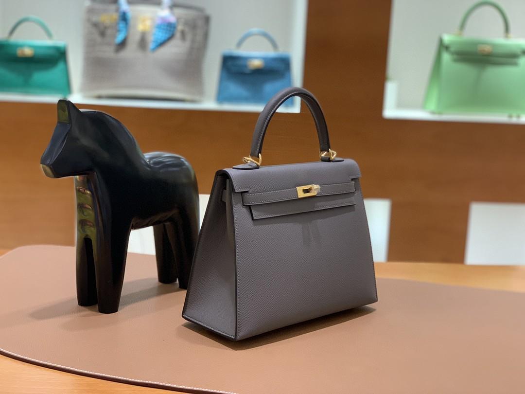 Hermès(爱马仕)Kelly 凯莉包 Epsom 锡器灰 金扣 25cm