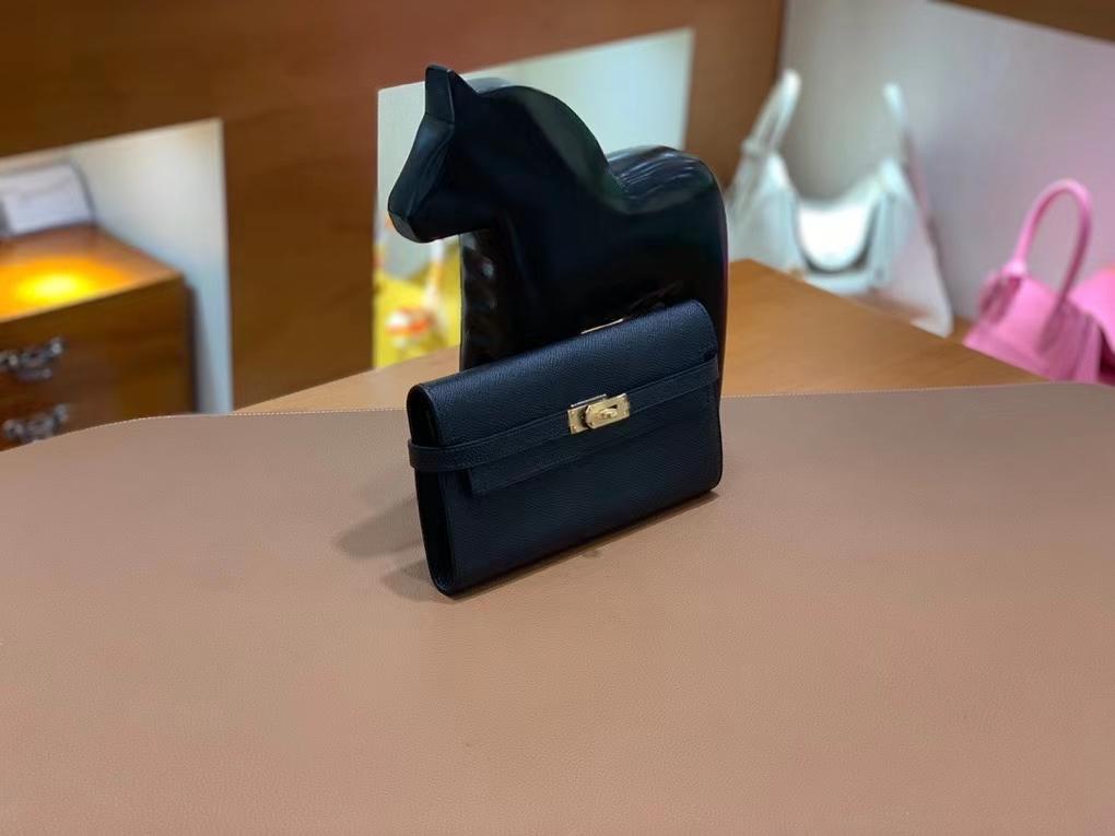 Hermès(爱马仕)epsom 黑色 Kelly 钱夹 金扣 现货