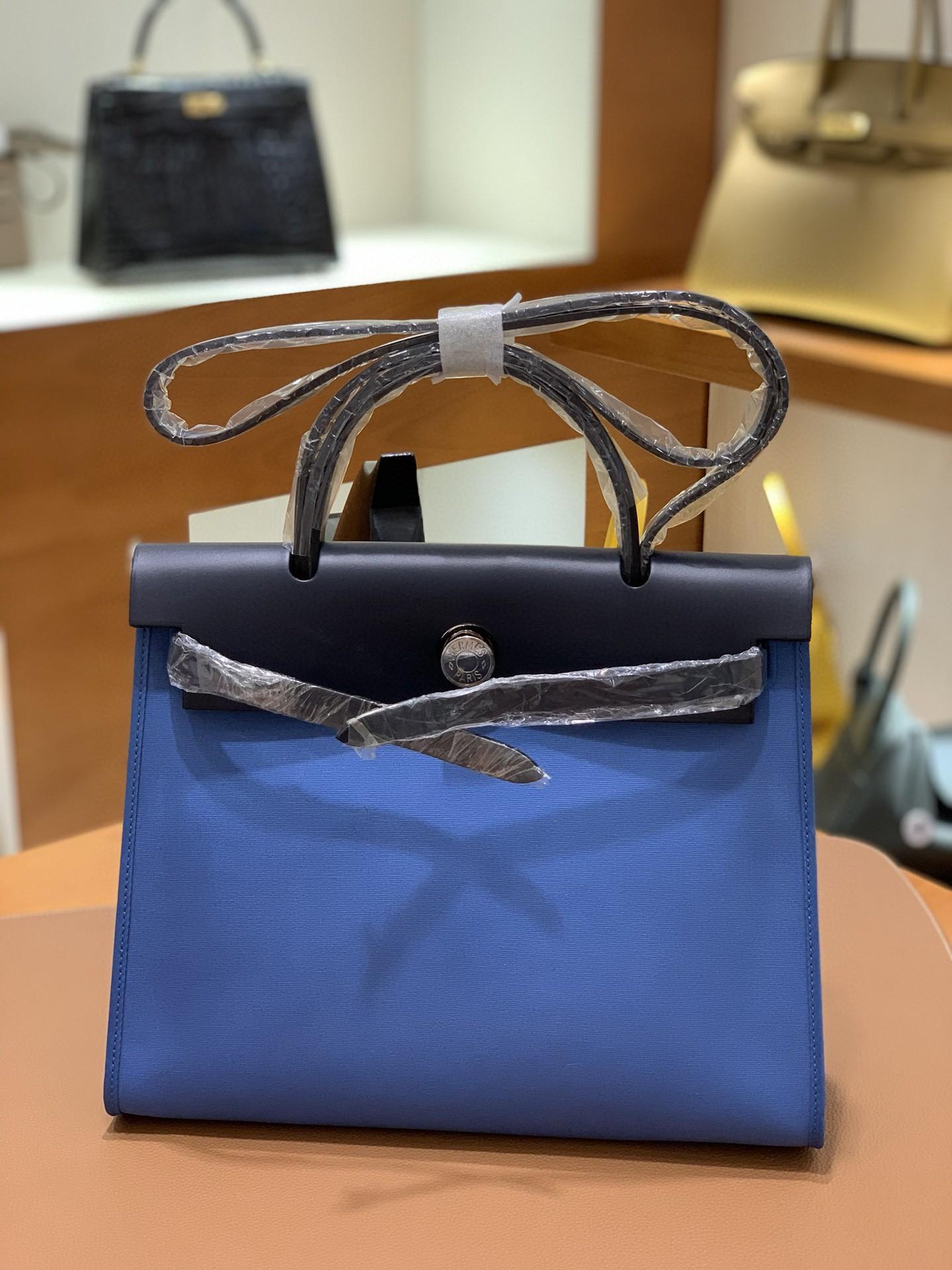 Hermès(爱马仕)Herbag 午夜蓝 玛瑙蓝 Box帆布 银扣 31cm