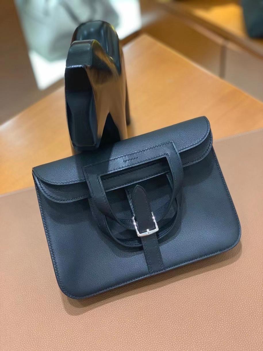 Hermès(爱马仕)Swift 黑色 Halzan 22cm 银扣 现货