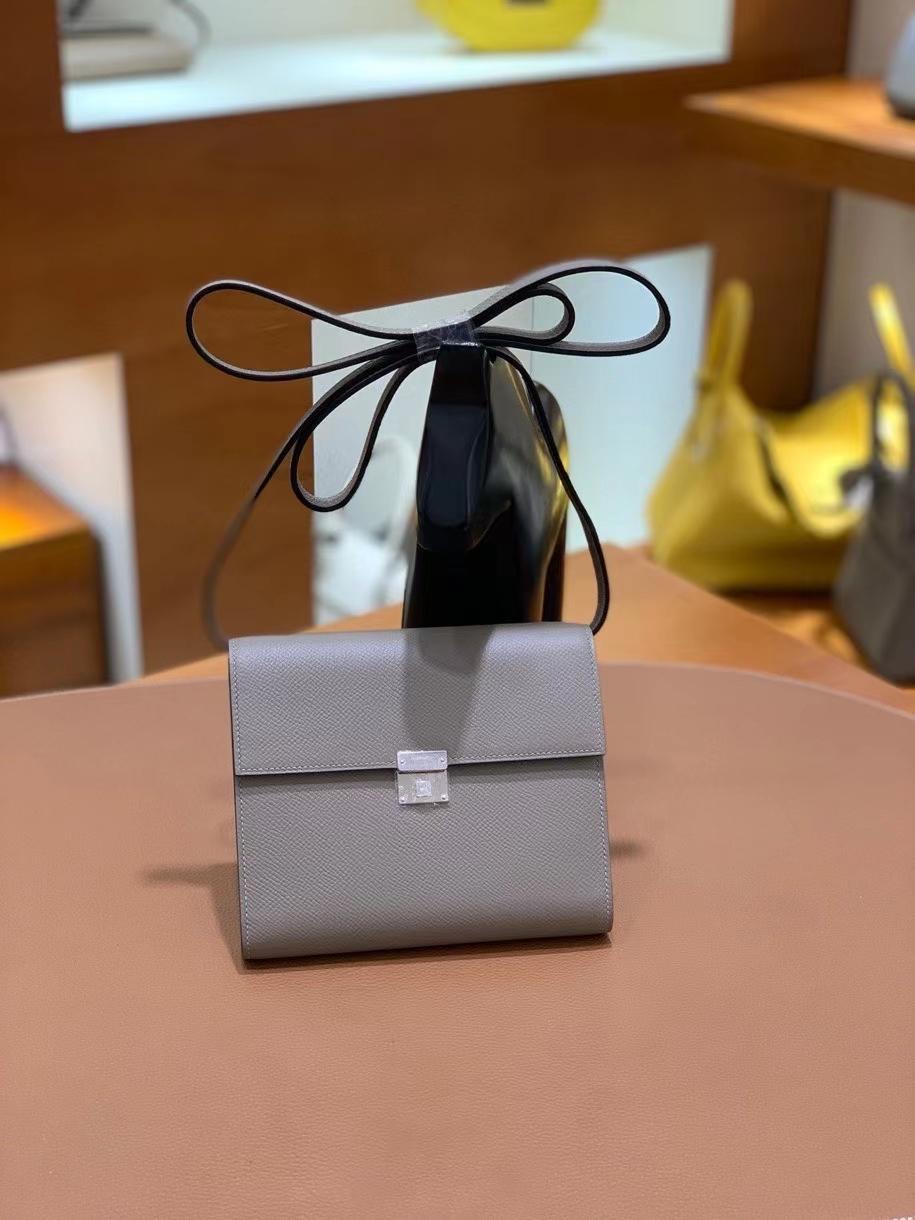 Hermès(爱马仕)clice 挎包 Epsom 沥青灰 银扣 16cm 现货
