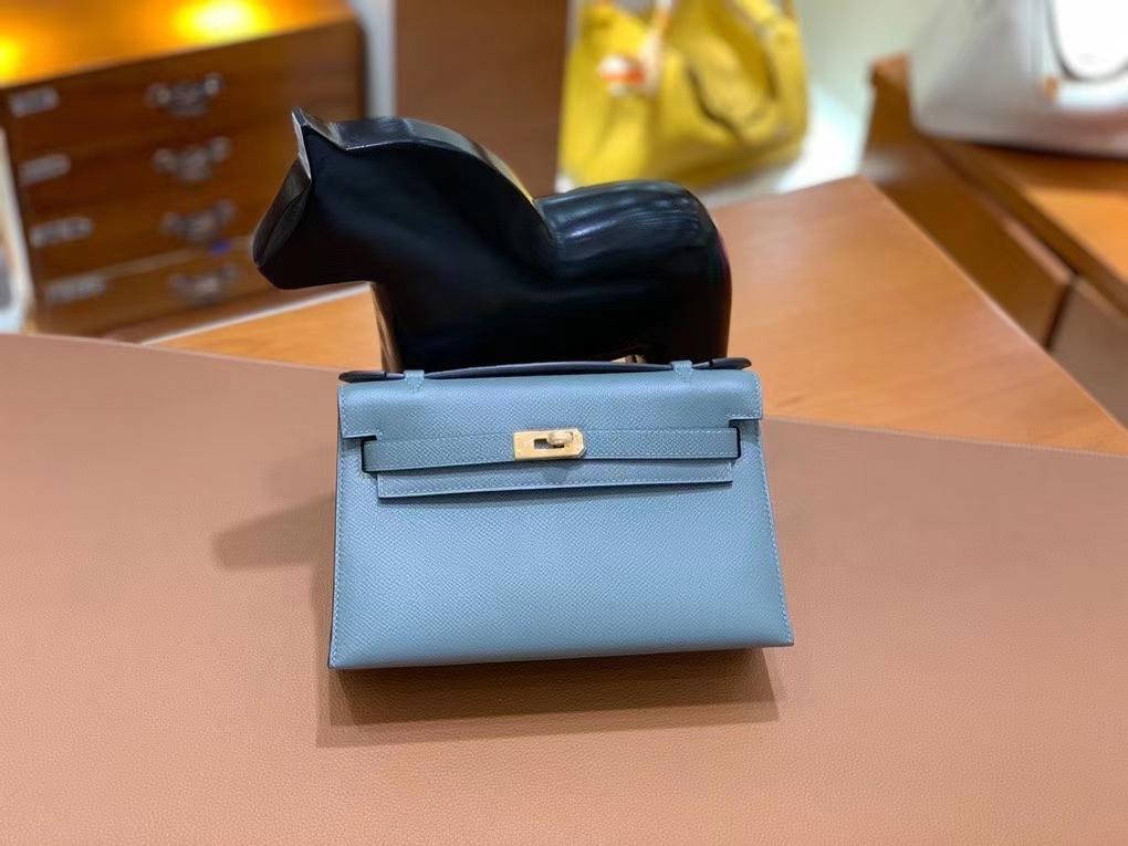 Hermès(爱马仕)Epsom 杏仁绿 miniKelly 22cm 金扣 现货