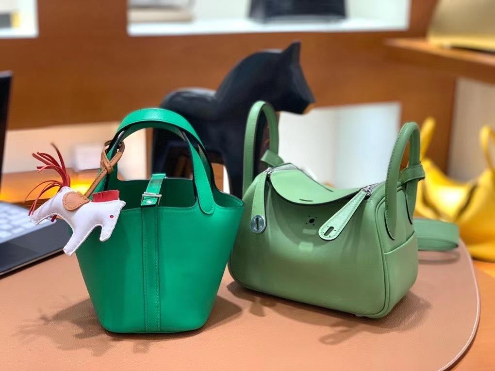 Hermès(爱马仕)Picotin 菜篮子 swift皮 1K竹子绿 14cm 银扣 现货