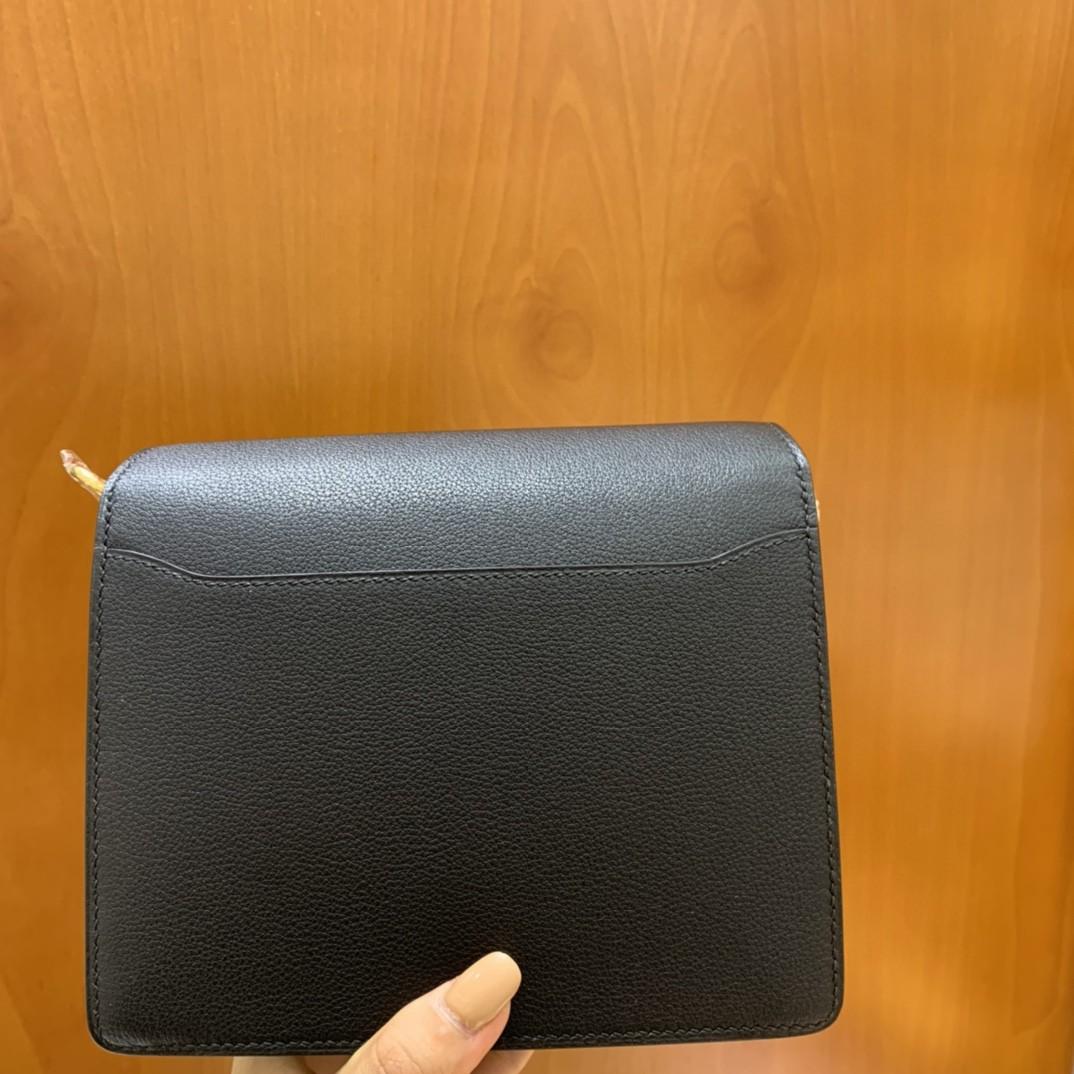 Hermès(爱马仕)Roulis 猪鼻子 evercolor 黑色 18cm 金扣 现货