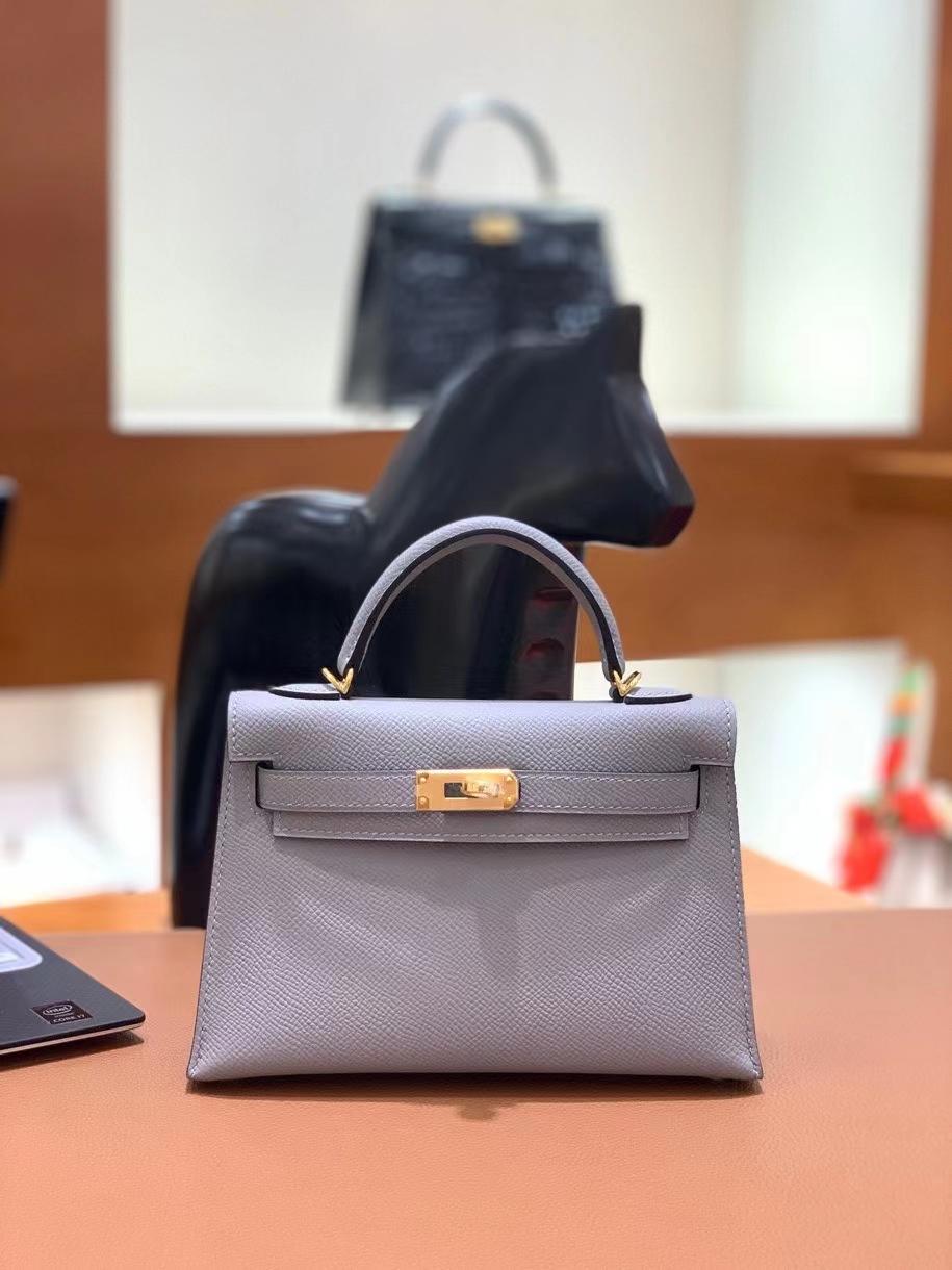 Hermès(爱马仕)epsom 2Z海鸥灰 miniKelly 19cm 金扣 现货