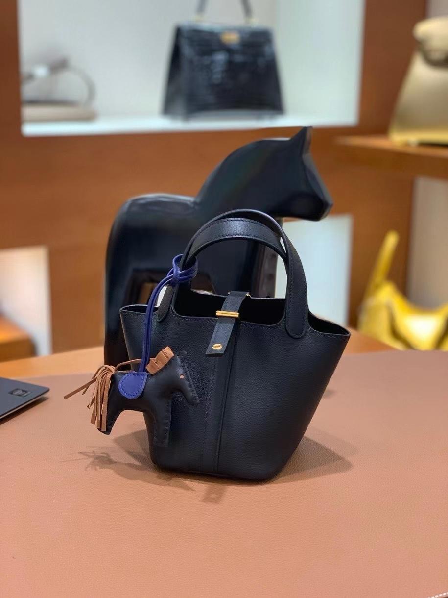 Hermès(爱马仕)Picotin 菜篮子 swift皮 黑色 14cm 金扣 现货