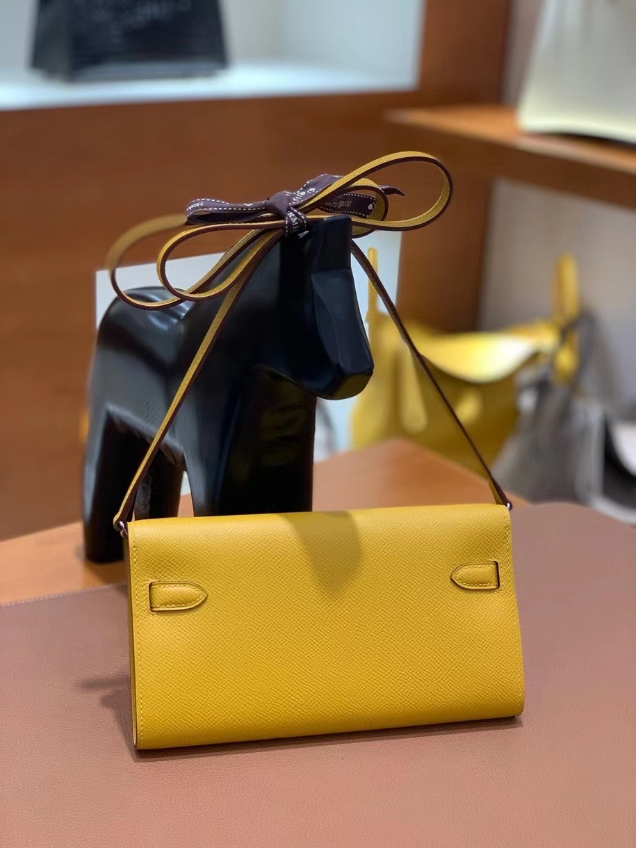 Hermès(爱马仕)Epsom 9D琥珀黄 Kelly to go wallet 银扣 现货