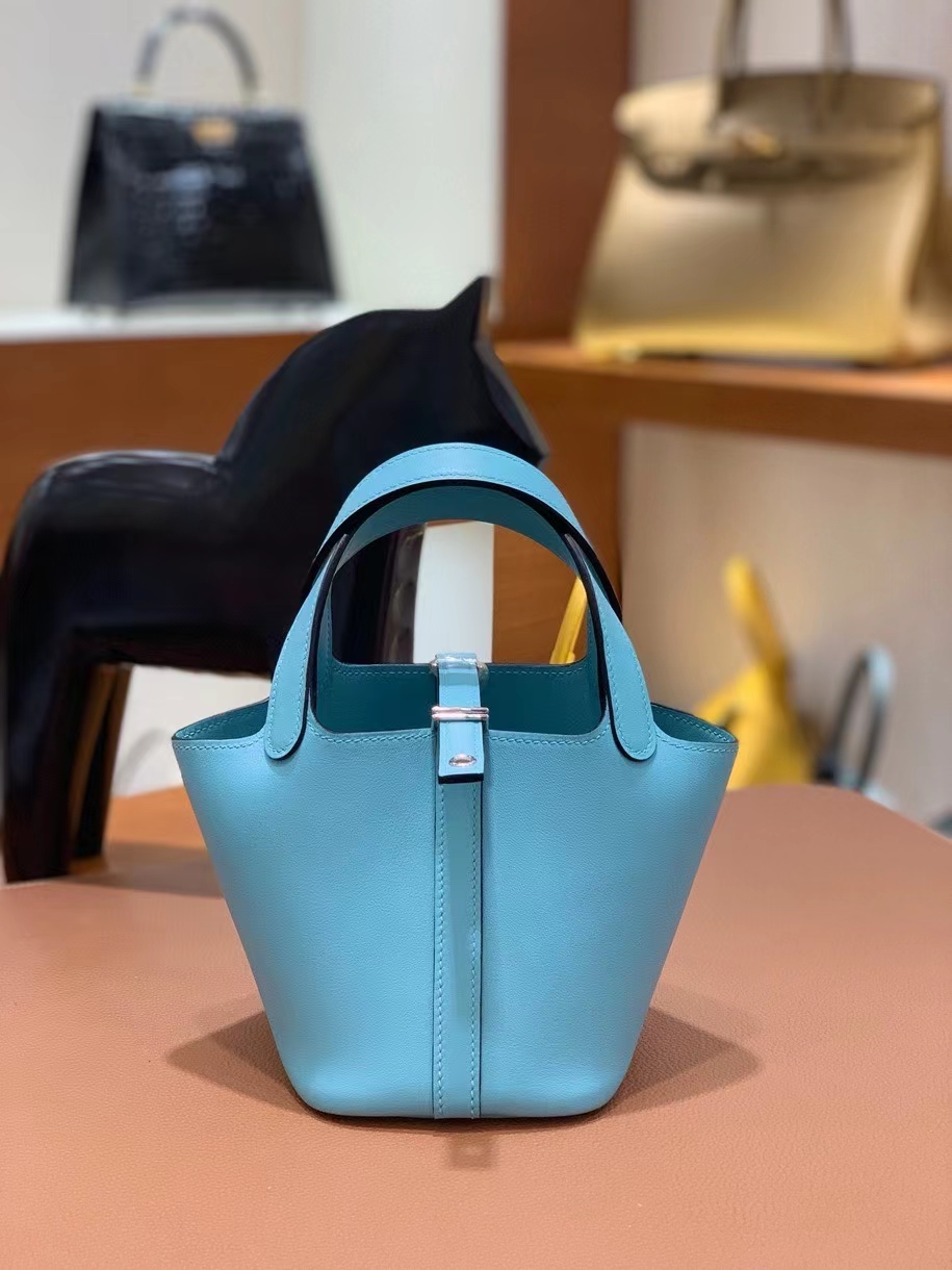 Hermès(爱马仕)Picotin 菜篮子 swift皮 3P马卡龙蓝 14cm 银扣 现货