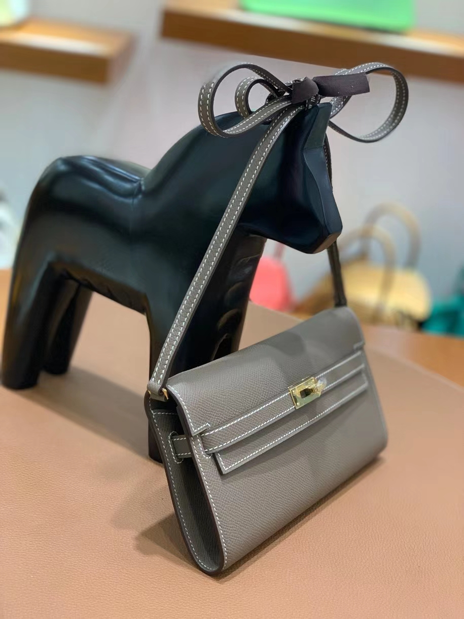 Hermès(爱马仕)Epsom 大象灰 Kelly to go wallet 金扣 现货