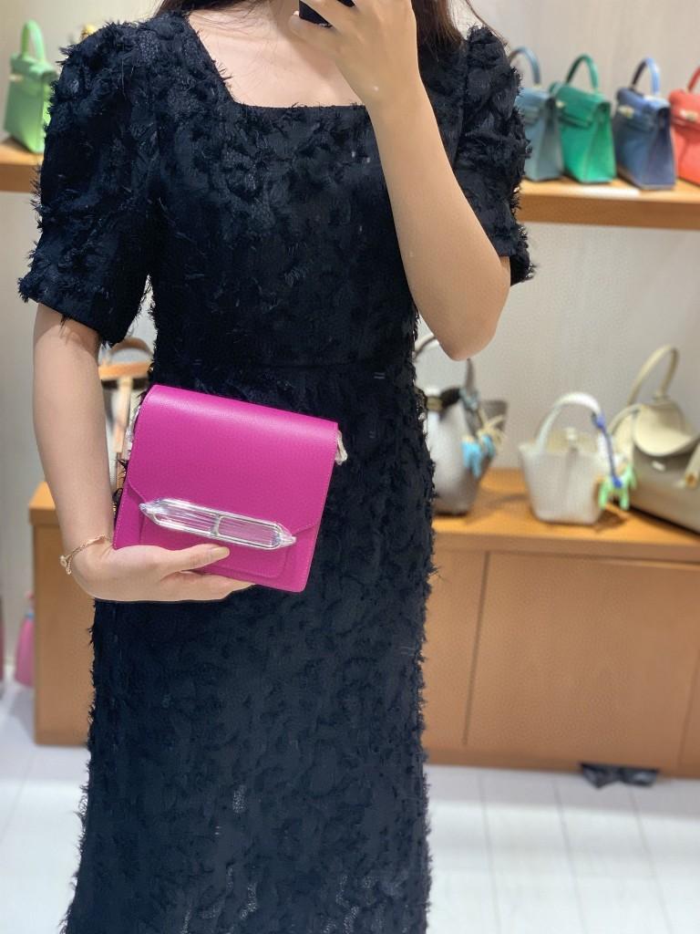 Hermès(爱马仕)Roulis 猪鼻子 evercolor 玫瑰紫 18cm 银扣 现货