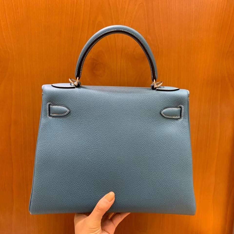 Hermès(爱马仕)Kelly 凯莉包  Togo 牛仔蓝 28cm 银扣 现货