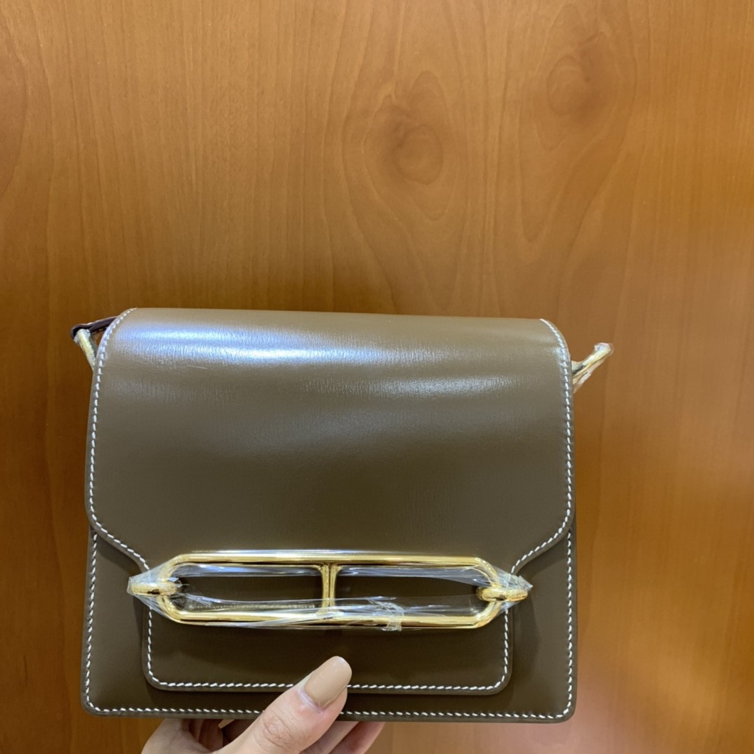Hermès(爱马仕)Roulis 猪鼻子 Box 大象灰 18cm 金扣 现货