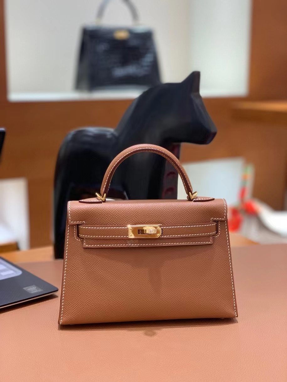 Hermès(爱马仕)epsom 金棕色 minikelly 19cm 金扣 现货