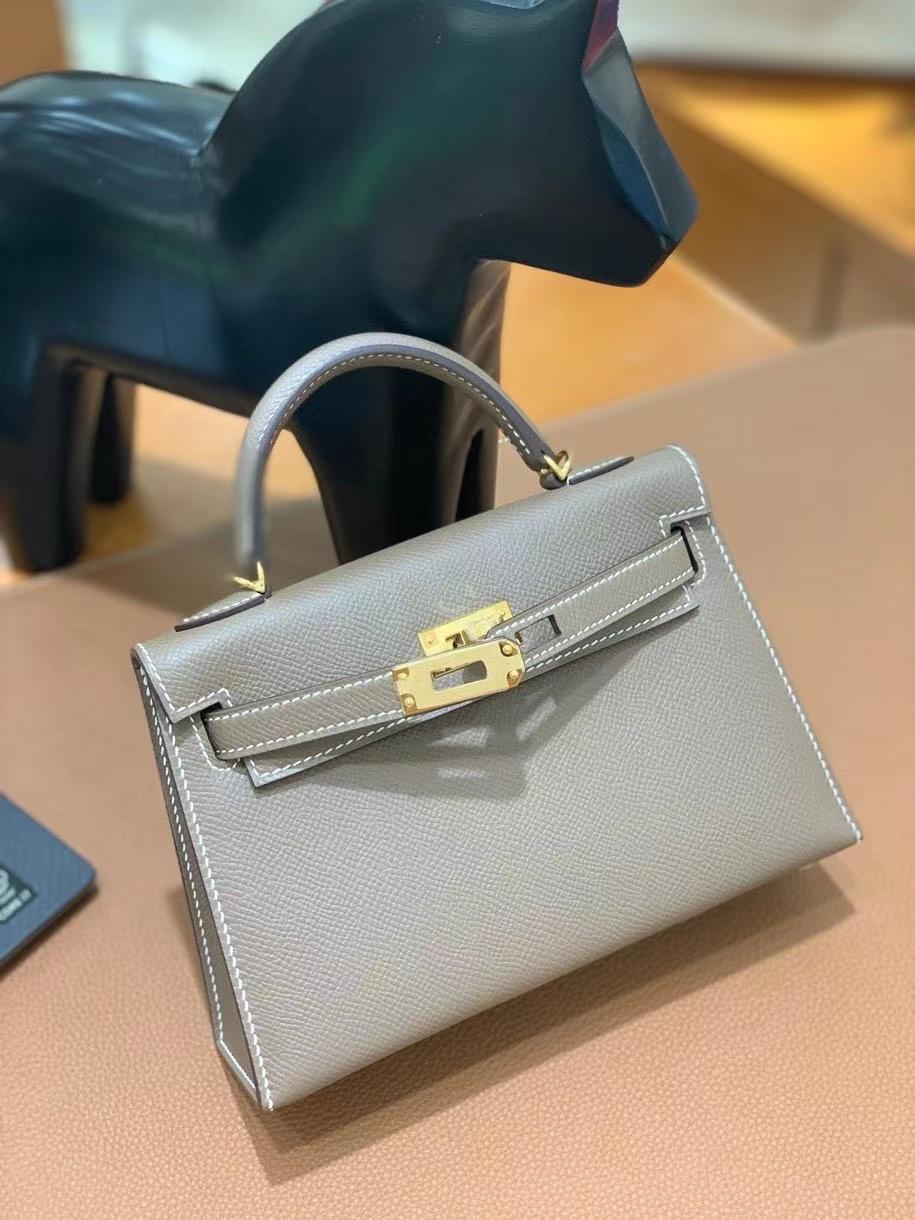 Hermès(爱马仕)epsom 大象灰 minikelly 19cm 金扣 现货