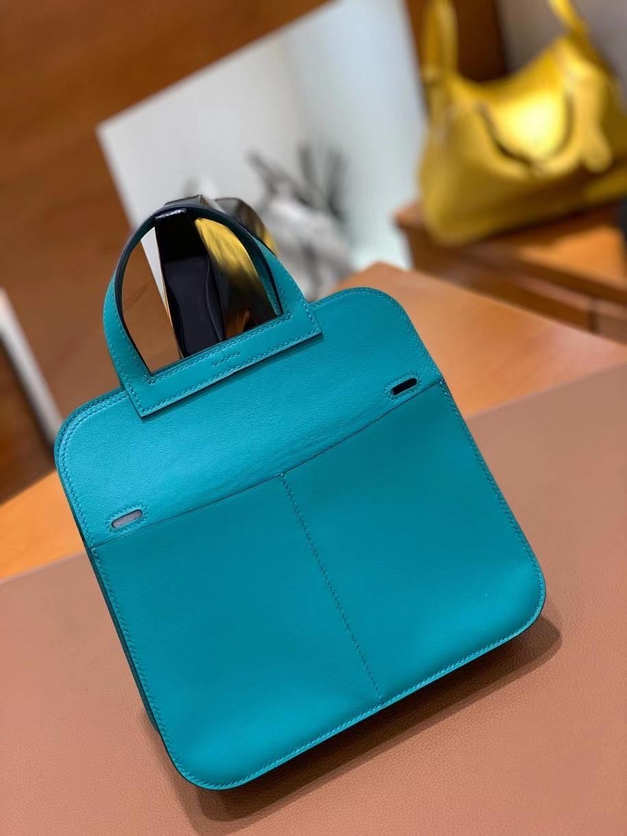 Hermès(爱马仕)Halzan 7F 孔雀蓝 Swift皮 22cm 银扣 现货