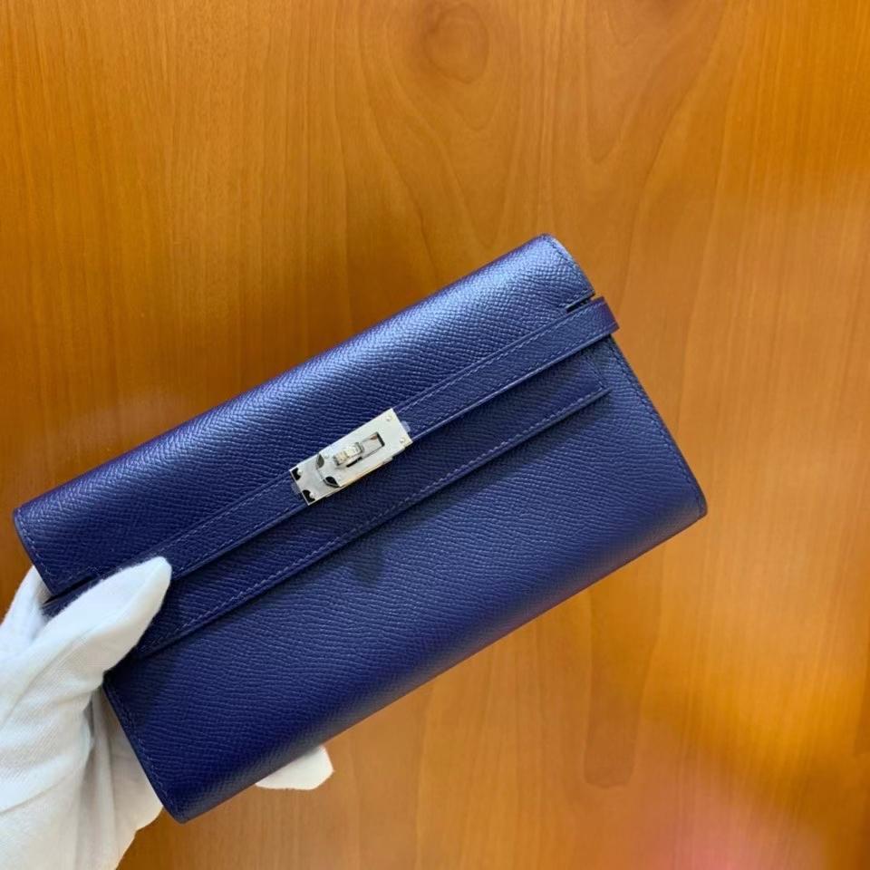 Hermès(爱马仕)epsom 宝石蓝 Kelly 钱夹 银扣 现货
