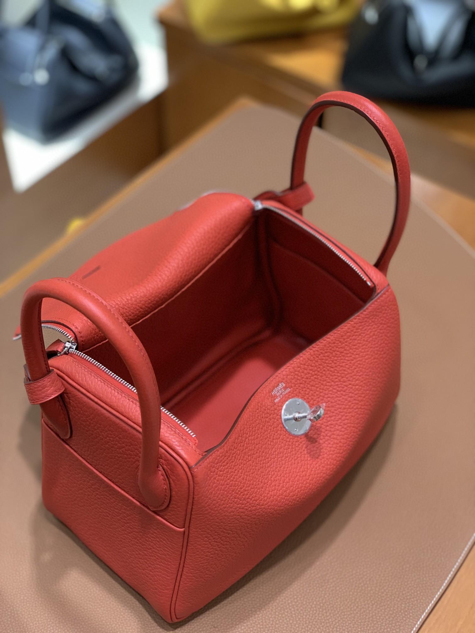Hermès(爱马仕)Lindy 琳迪包 TC 番茄红 银扣 26cm 现货