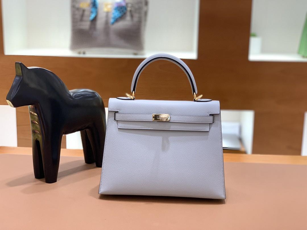 Hermès(爱马仕)Kelly 凯莉包 Epsom 海鸥灰 金扣 25cm