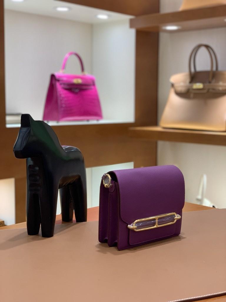 Hermès(爱马仕)Roulis 猪鼻子 evercolor 海葵紫 18cm 金扣 现货