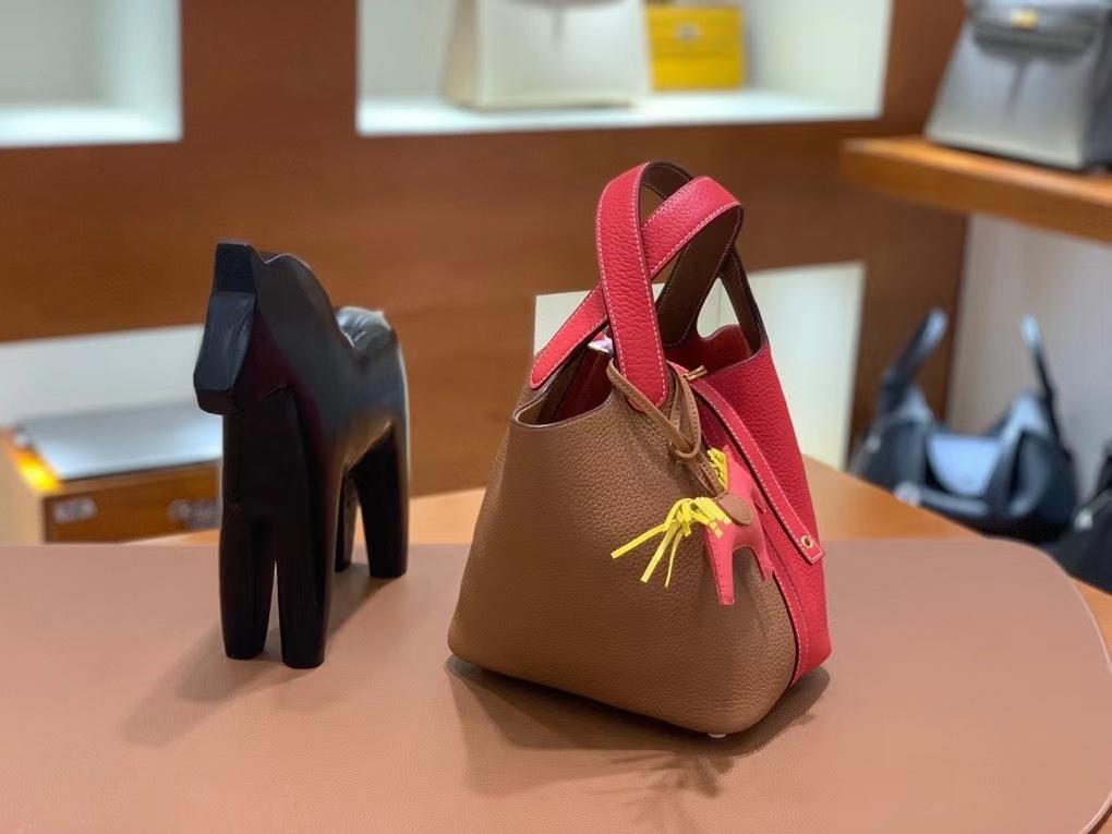 Hermès(爱马仕)Picotin 菜篮子 TC 心红拼金棕色 18cm 金扣 现货