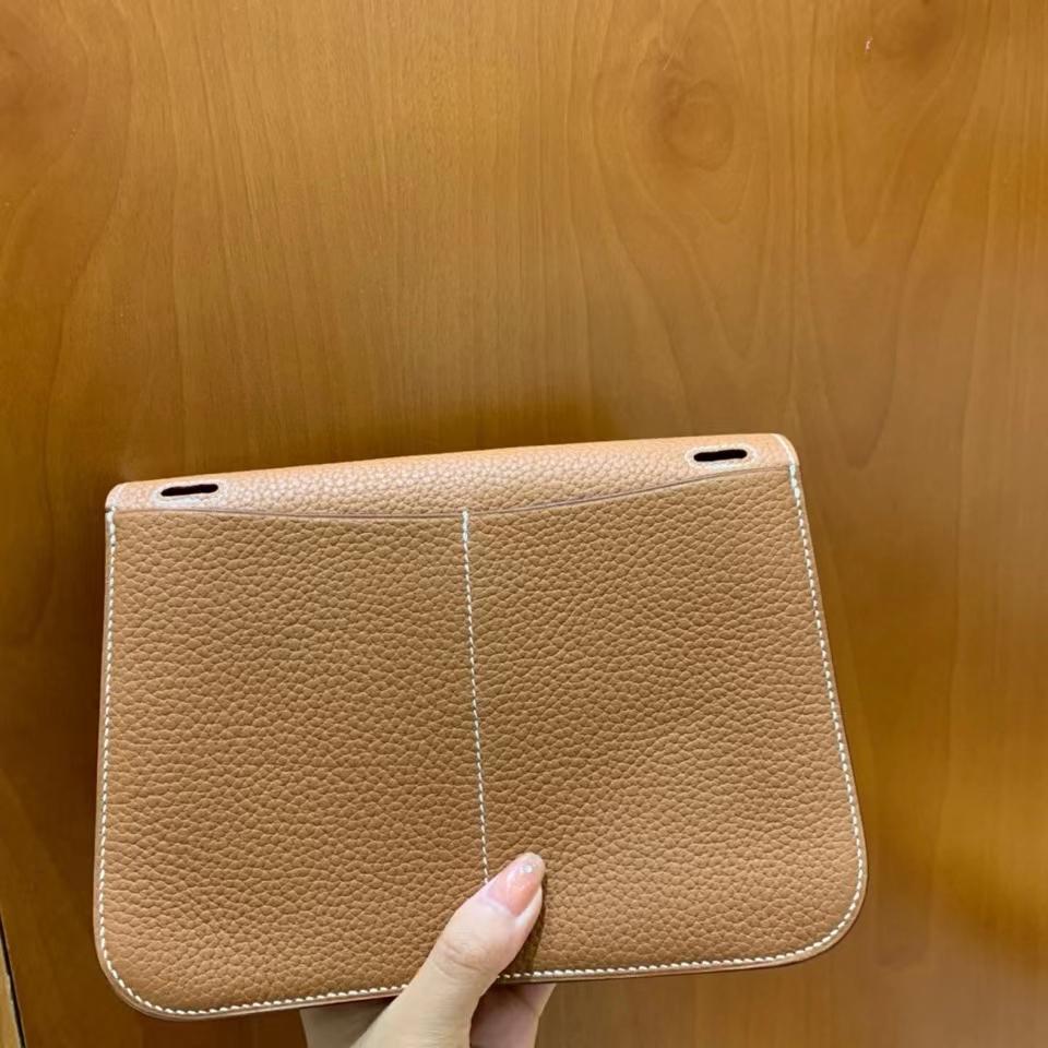 Hermès(爱马仕)TC 金棕色 Halzan 22cm 银扣 现货