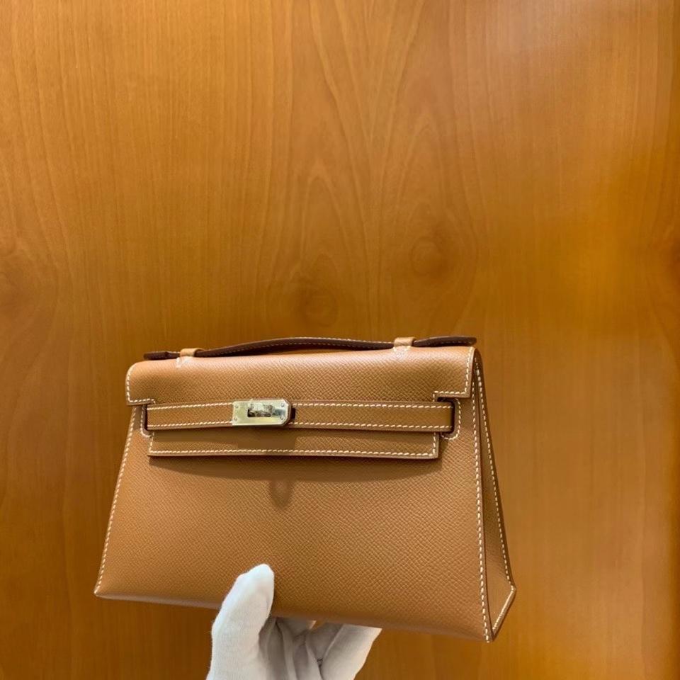 Hermès(爱马仕)Epsom 金棕色 miniKelly 22cm 银扣 现货