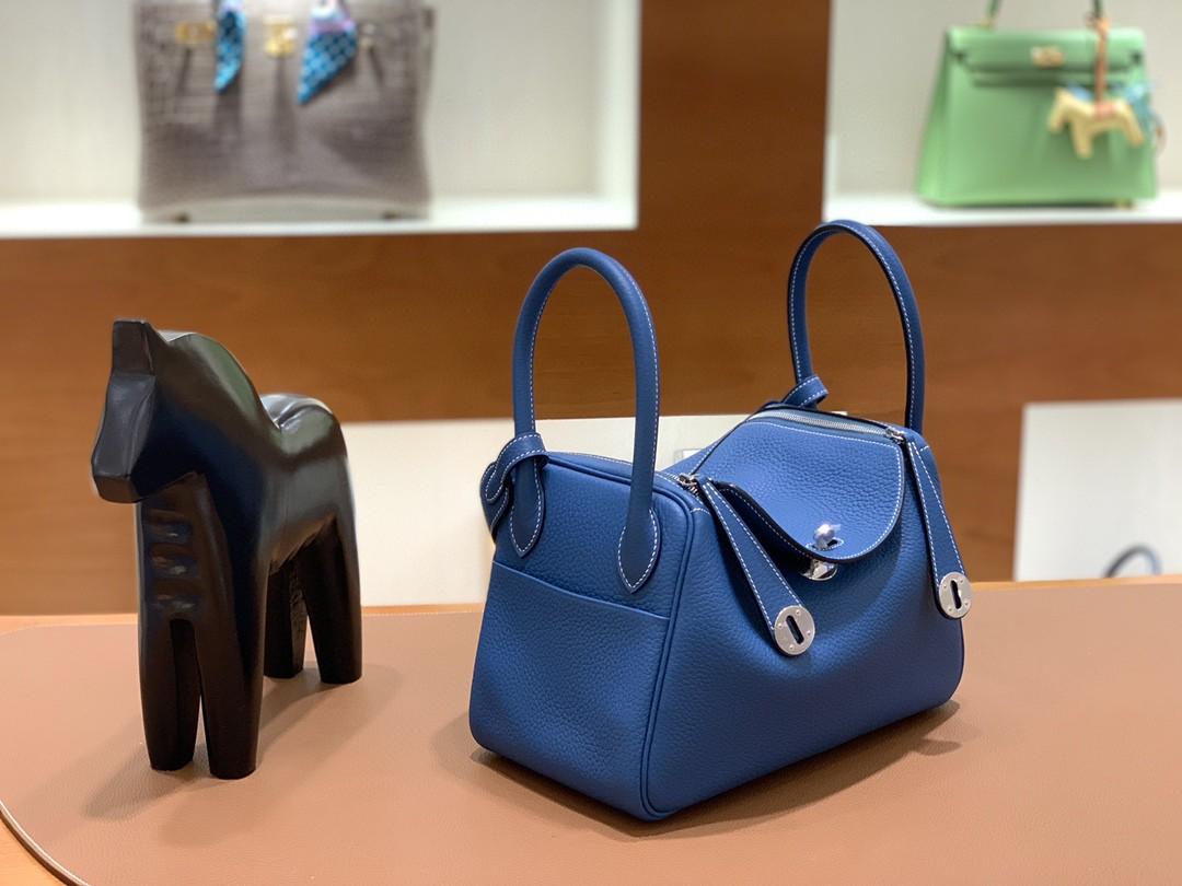 Hermès(爱马仕)Lindy 琳迪包 TC 牛仔蓝 银扣 26cm 现货