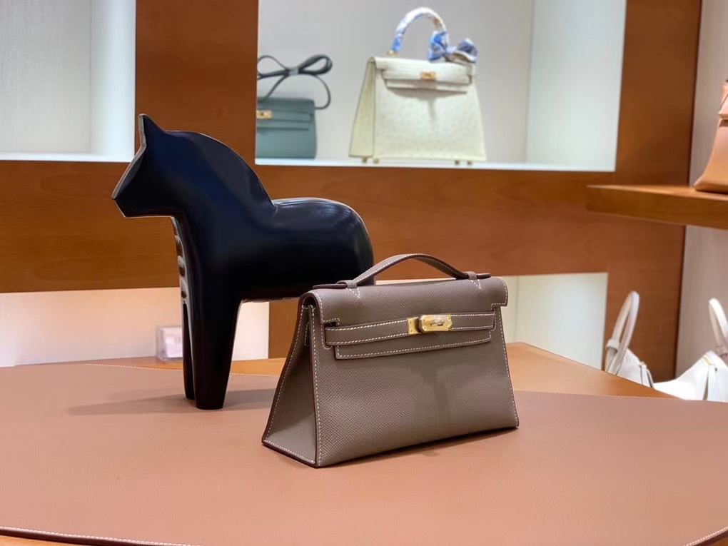 Hermès(爱马仕)Epsom 大象灰 miniKelly 22cm 金扣 现货
