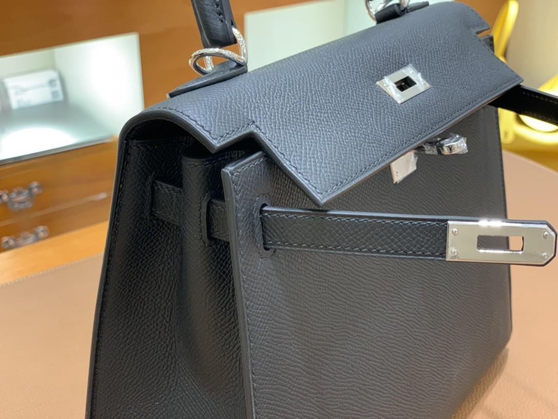Hermès(爱马仕) Kelly 凯莉包 Epsom皮 黑色 银扣 25cm 现货