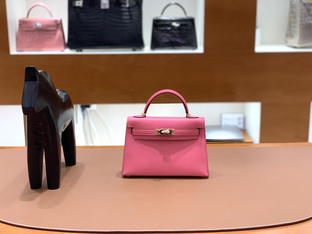 Hermès(爱马仕)minikelly 迷你凯莉 Swift 8w唇膏粉 19cm 金扣