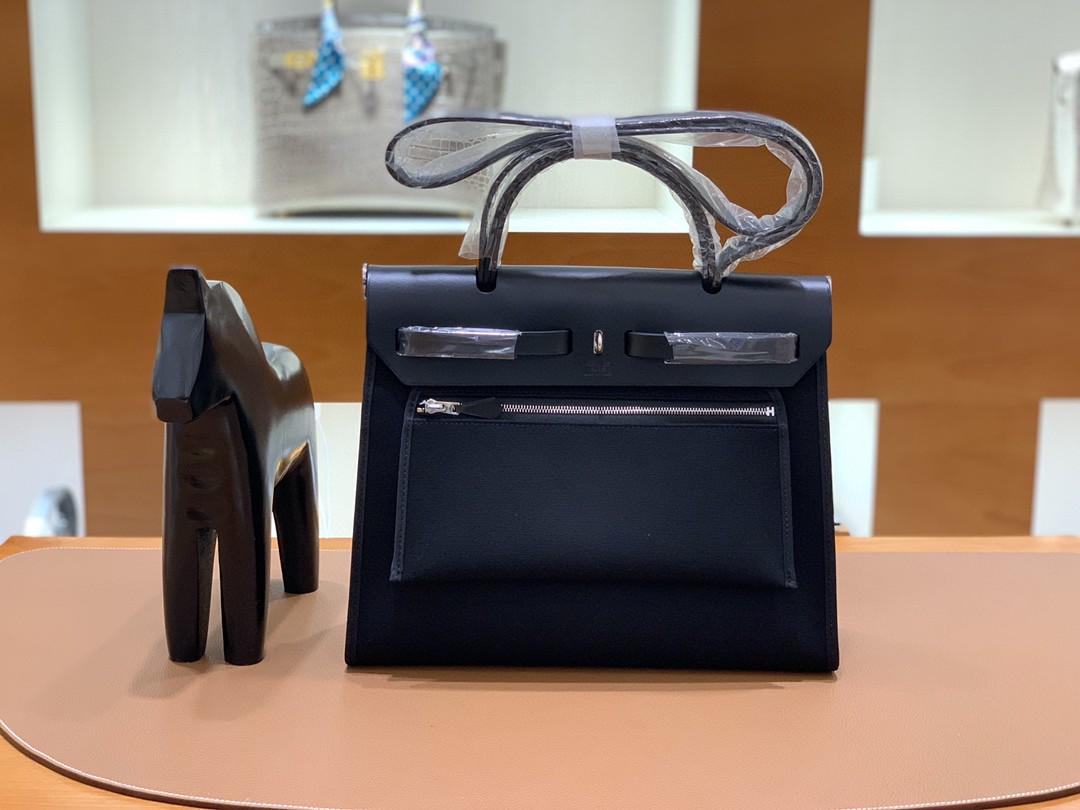 Hermès(爱马仕)herbag Box帆布 黑色 银扣 31cm