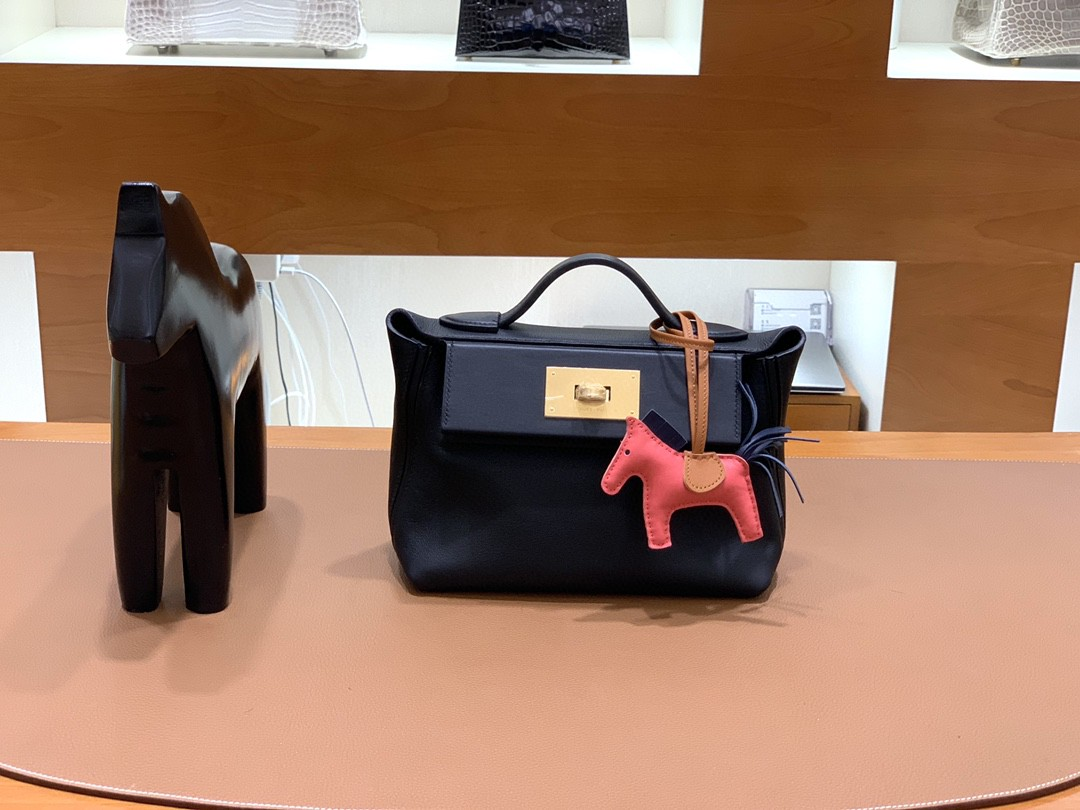 Hermès(爱马仕)mini 2424 黑色 togo拼swift皮 金扣 现货