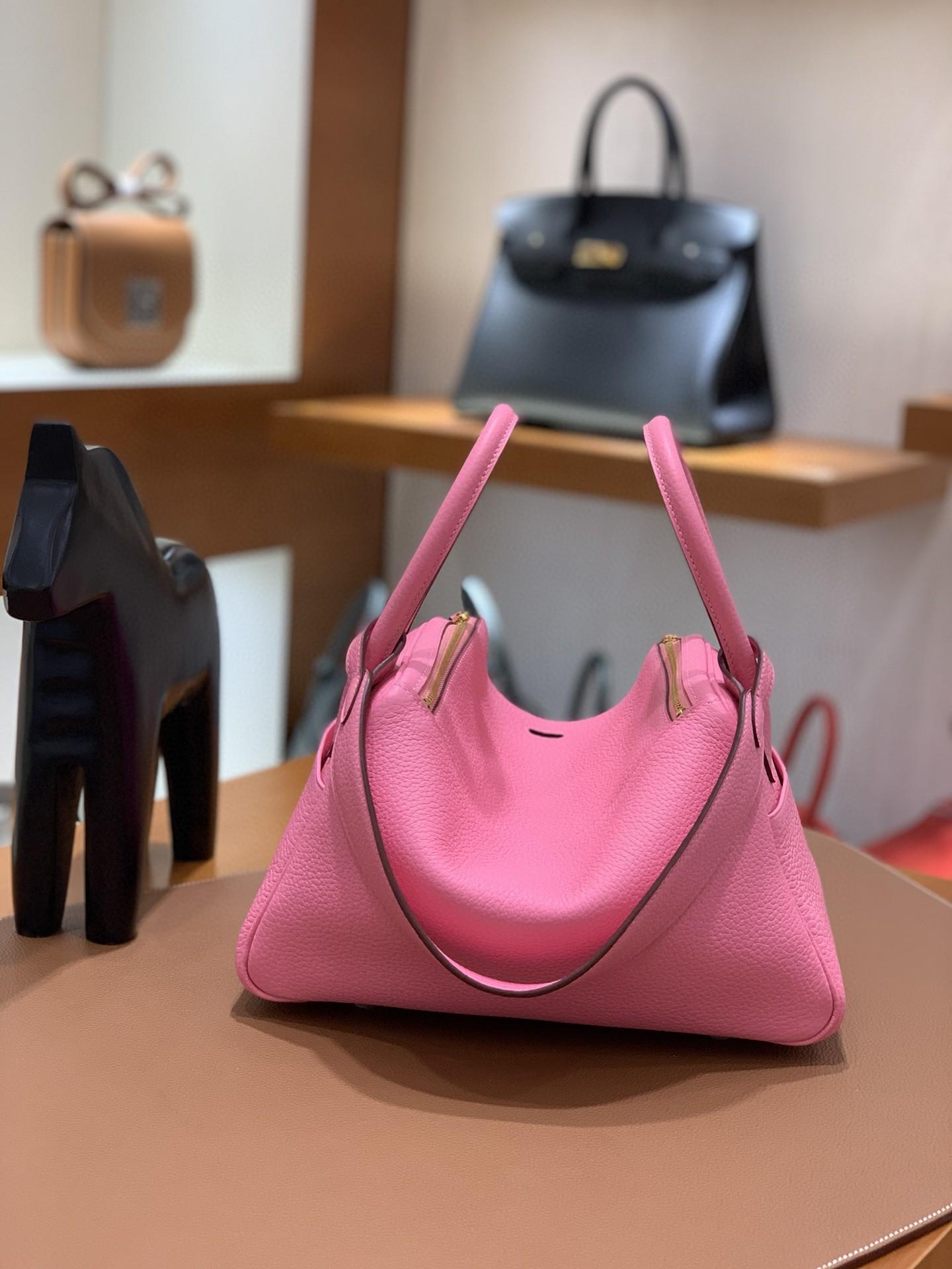 Hermès(爱马仕)Lindy 琳迪包 TC K4 夏日粉 金扣 26cm
