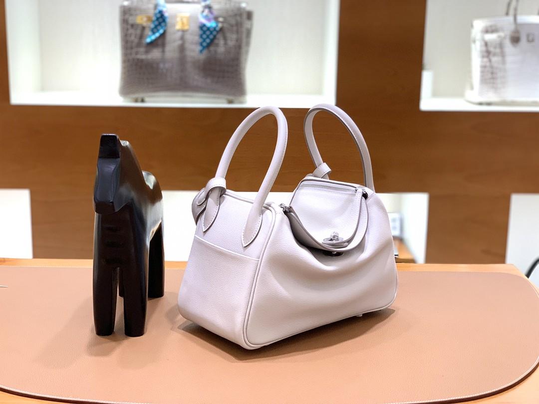 Hermès(爱马仕)Lindy 琳迪包 Evercolor 珍珠灰 银扣 26cm