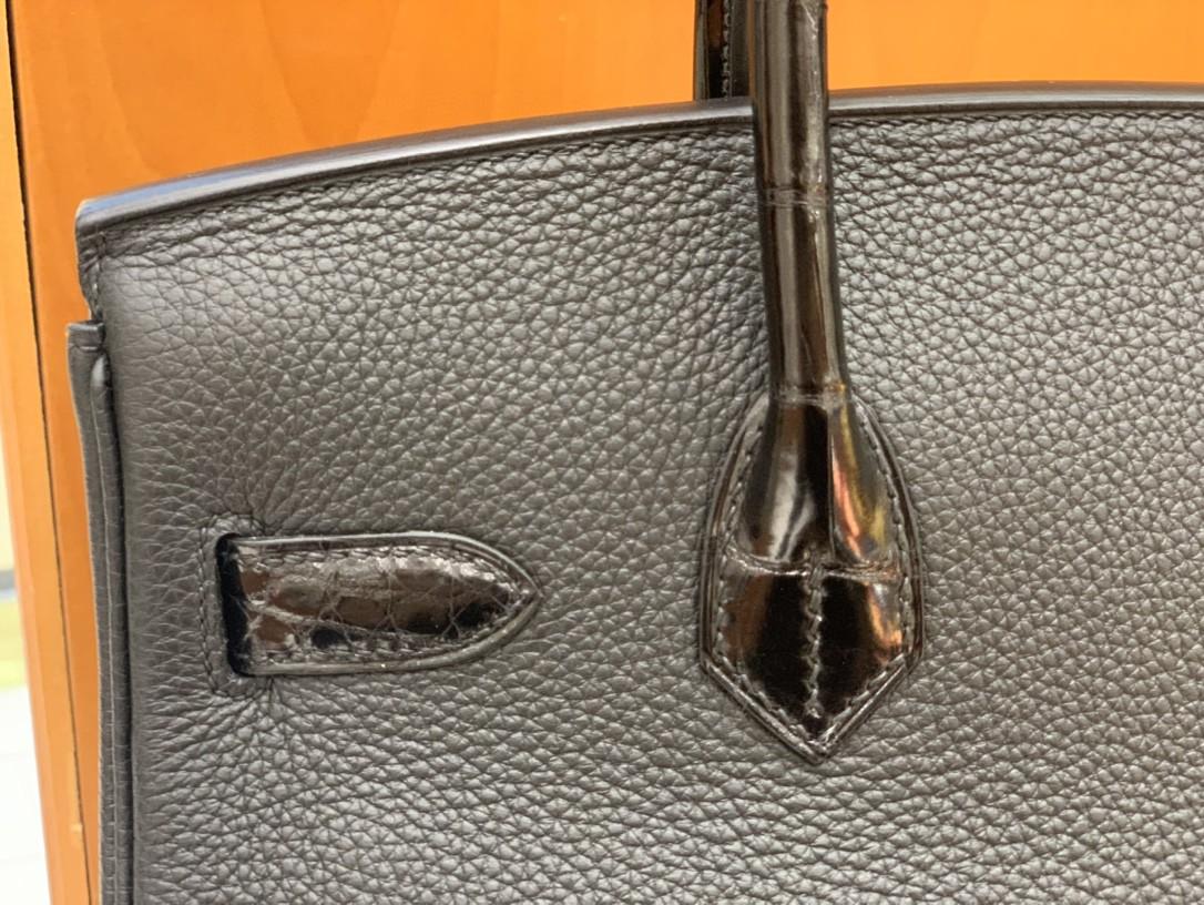 Hermès(爱马仕) Birkin Touch Togo 拼 鳄鱼皮 黑色 金扣 30cm 现货