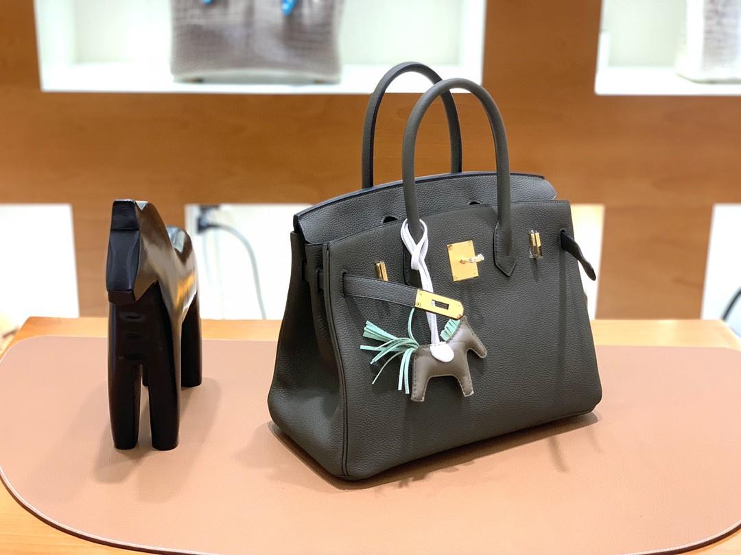 Hermès(爱马仕)Birkin 铂金包 Togo 乌木灰 金扣 30cm