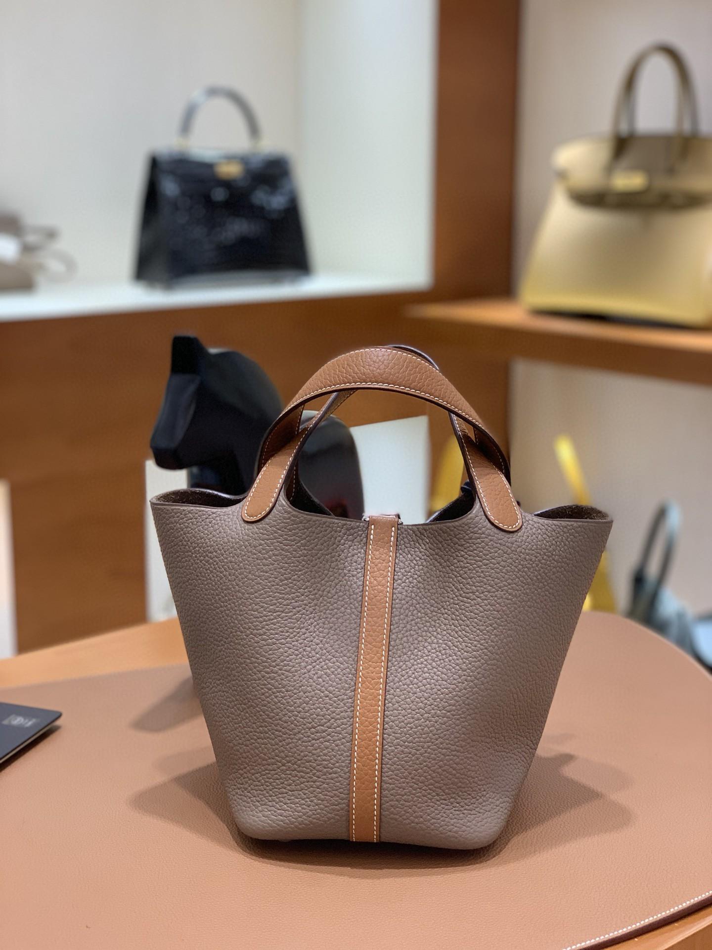 Hermès(爱马仕)Picotin 菜篮子 TC 金棕色拼大象灰 银扣 18cm