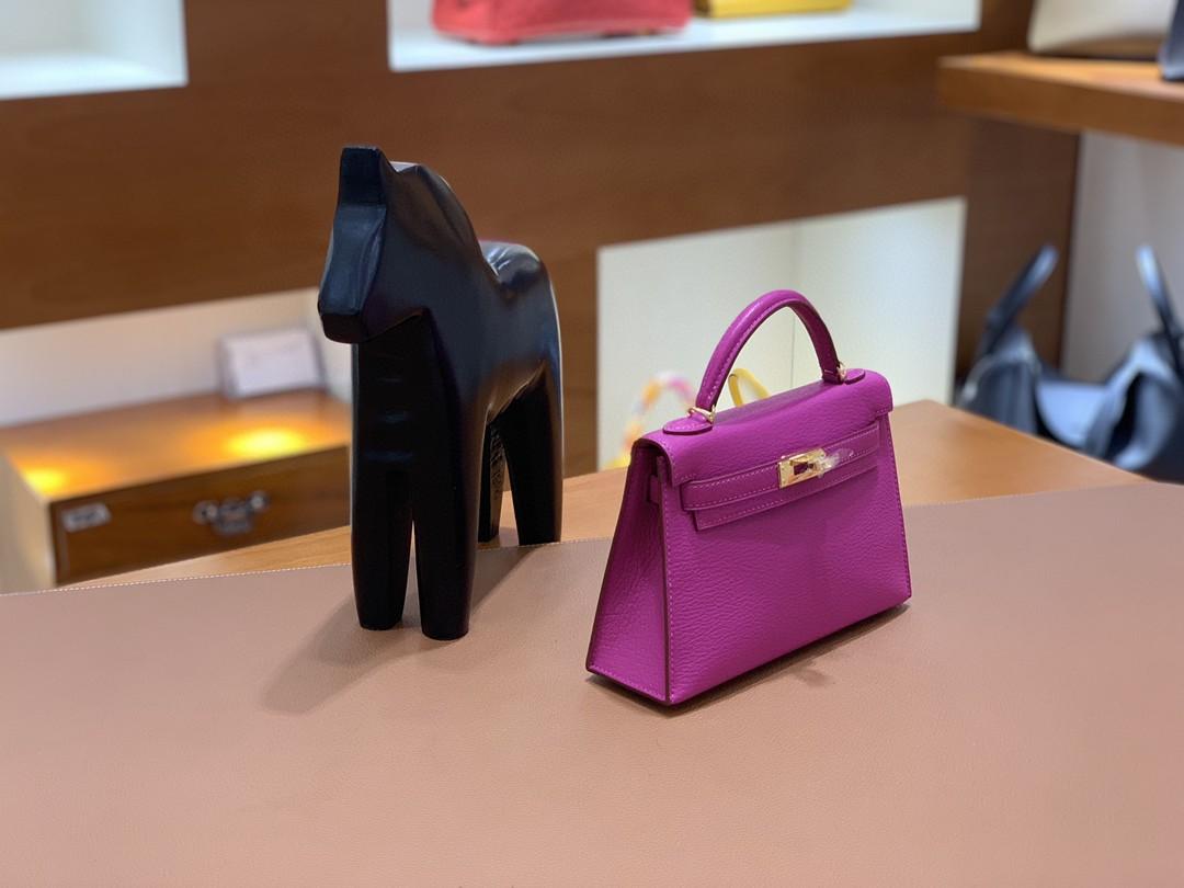 Hermès(爱马仕)mini Kelly 迷你凯莉 山羊皮 玫瑰紫 19cm 金扣