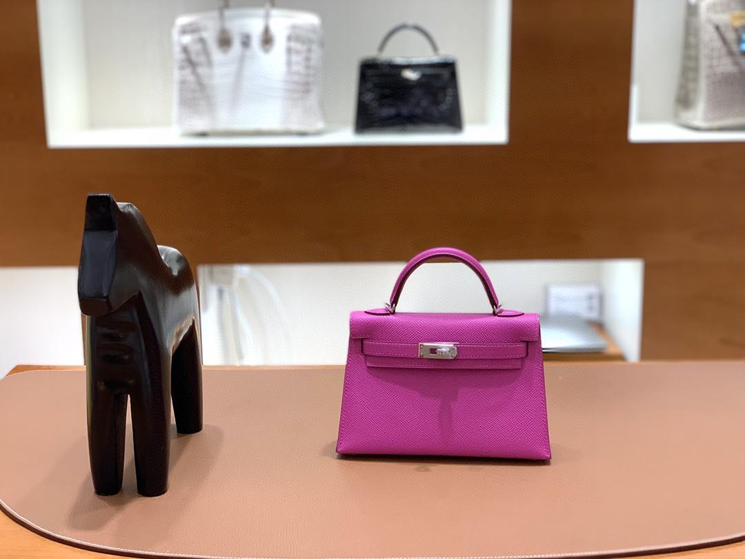 Hermès(爱马仕)mini Kelly 迷你凯莉 Epsom i9玉兰粉 银扣 19cm 现货