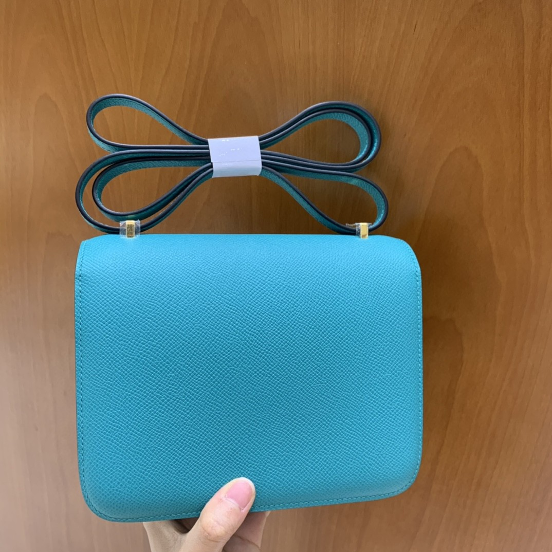 Hermès(爱马仕)Constance 空姐包 Epsom 维罗纳绿 19cm 金扣
