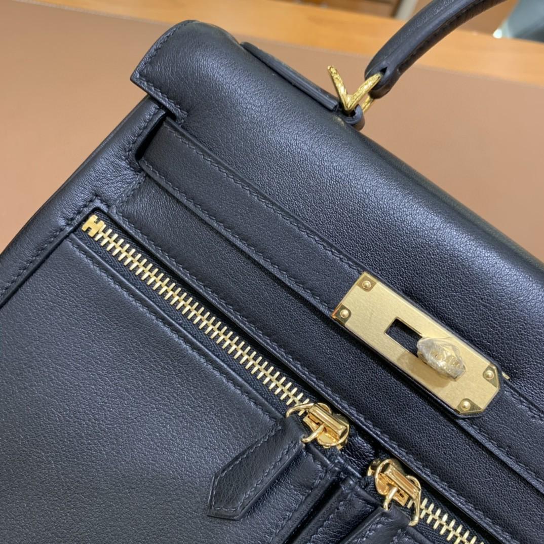 Hermès(爱马仕)Kelly lakis 黑色 swift皮 金扣 28cm 现货