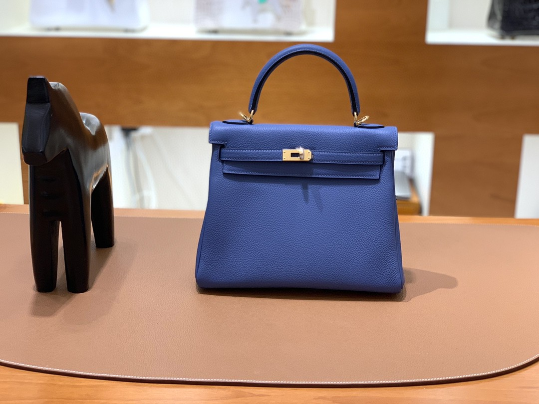 Hermès(爱马仕)kelly 凯莉包 Togo 玛瑙蓝 25cm 金扣