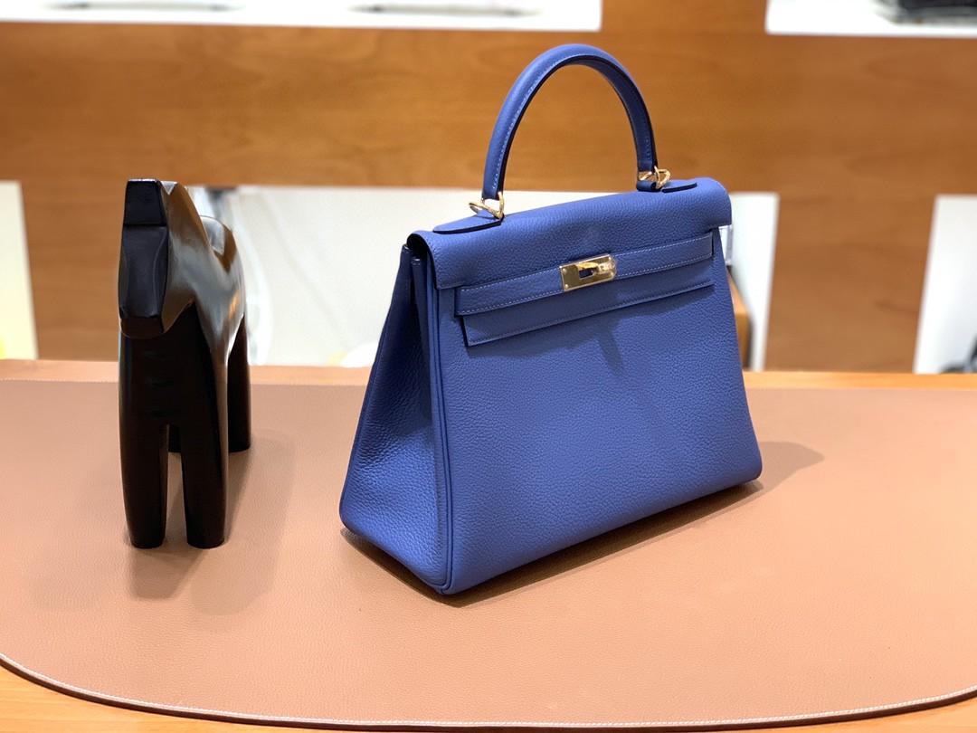 Hermès(爱马仕)kelly 凯莉包 Togo 玛瑙蓝 28cm 金扣