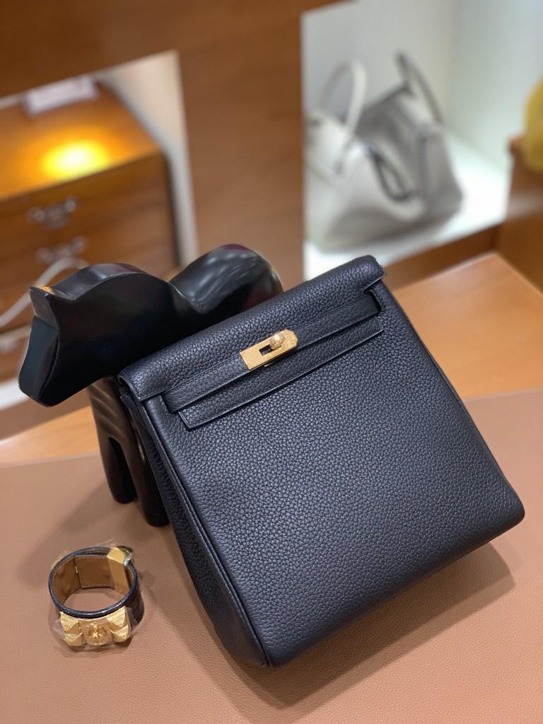 Hermès(爱马仕)Kelly ado 黑色 TC 金扣 20cm