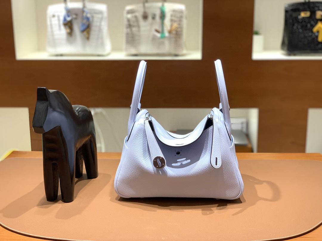 Hermès(爱马仕)Lindy 琳迪包 TC T0 雾蓝色 银扣 26cm