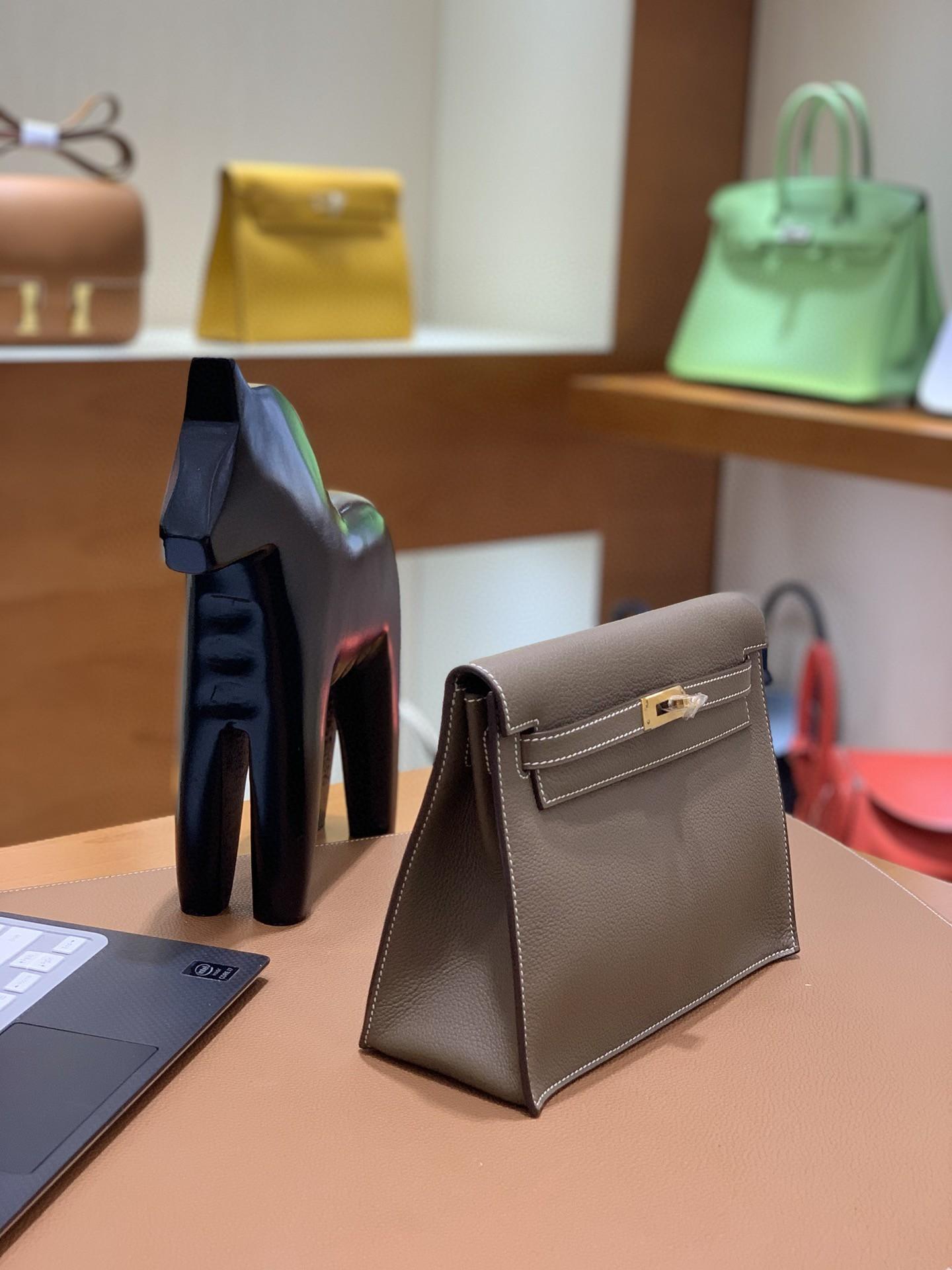 Hermès(爱马仕)Evercolor 大象灰 Kelly danse 22cm 金扣 现货