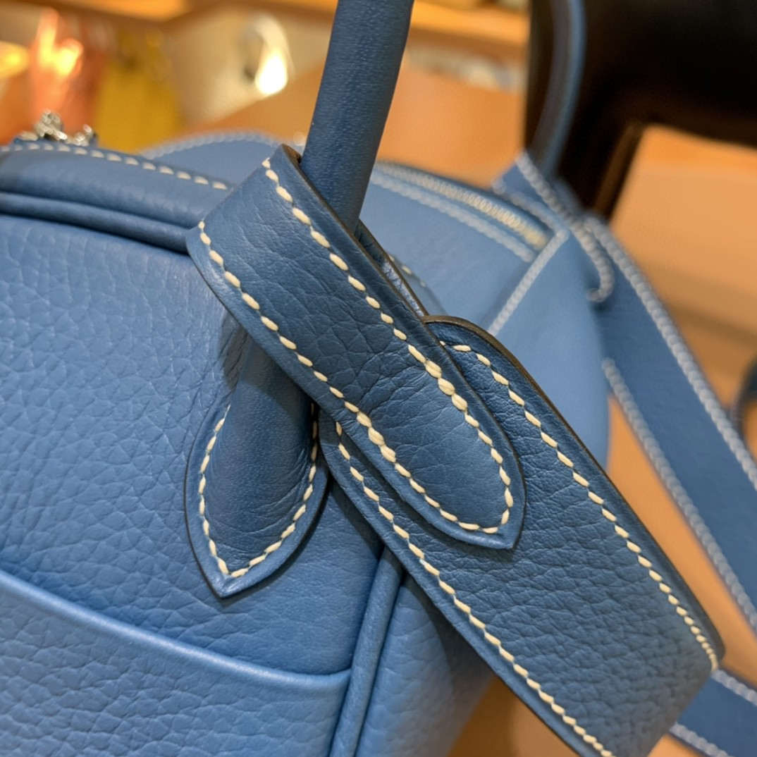 Hermès(爱马仕)minilindy 迷你琳迪包 TC 牛仔蓝 银扣